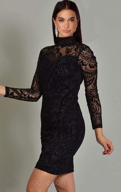 Siyah Flok Dantel Kısa Abiye Elbise
