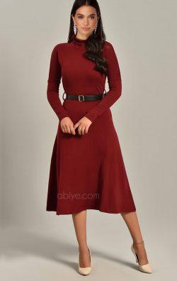 Bordo Triko Kemerli Uzun Kollu Midi Abiye Elbise