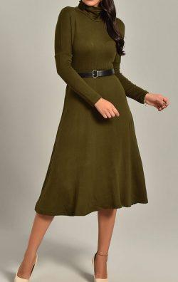 Haki Triko Kemerli Uzun Kollu Midi Abiye Elbise