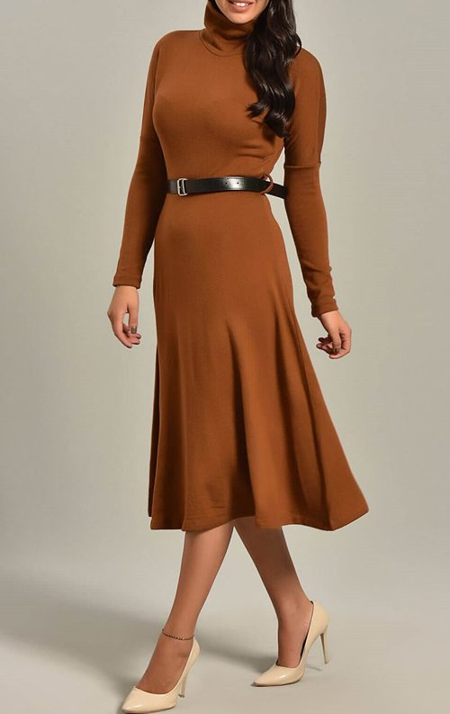 Hardal Triko Kemerli Uzun Kollu Midi Abiye Elbise