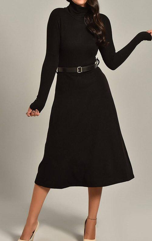 Siyah Triko Kemerli Uzun Kollu Midi Abiye Elbise
