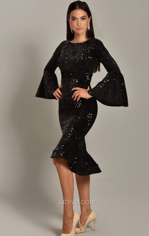 Siyah Pul Payet Volanlı Midi Abiye Elbise