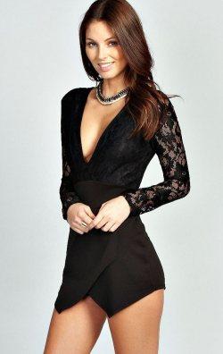 Şortlu Siyah Mini Elbise