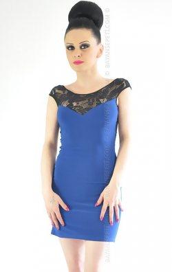 Dantelli Mavi Mini Club Elbise