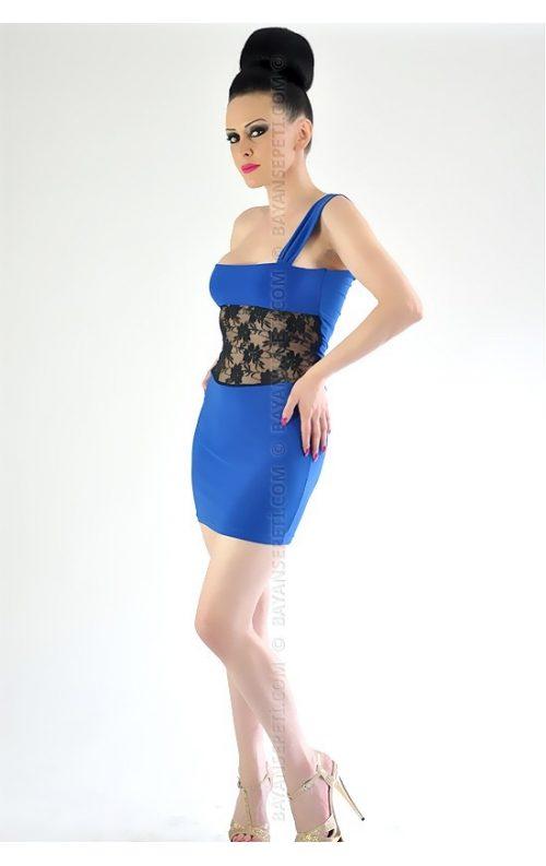 Dekolteli Dantelli Mini Elbise