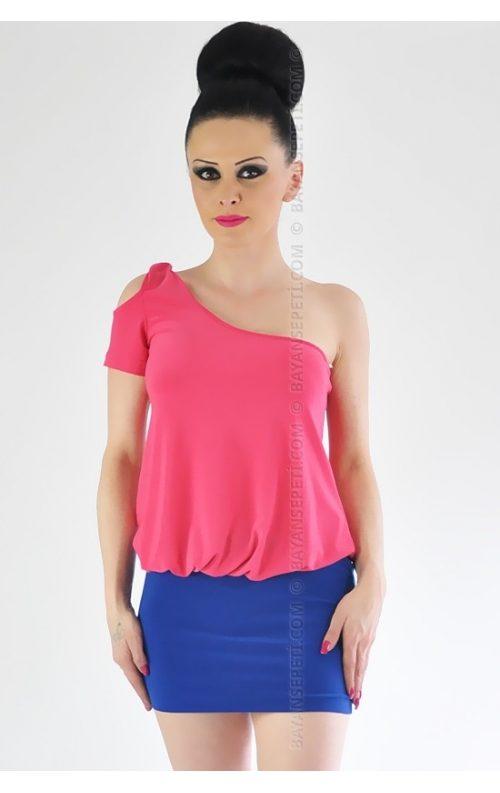Tek Omuz Asimetrik Mini Elbise