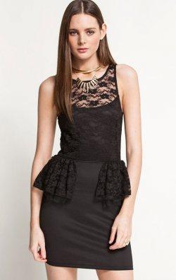 Dantelli Volan Detay Şık Mini Elbise