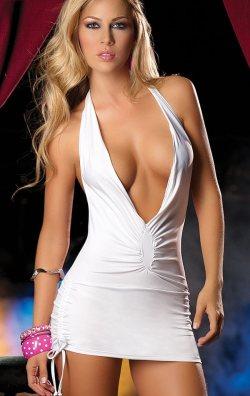 Beyaz Degajeli Önü Büzgülü Mini Elbise
