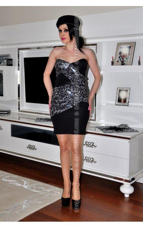 Uzun Kısa Giyilebilen Straplez Mini Elbise