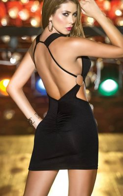 Seksi sırt dekolteli mini elbise