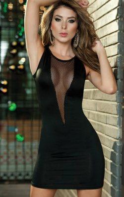Transparan Dekolteli Mini Elbise