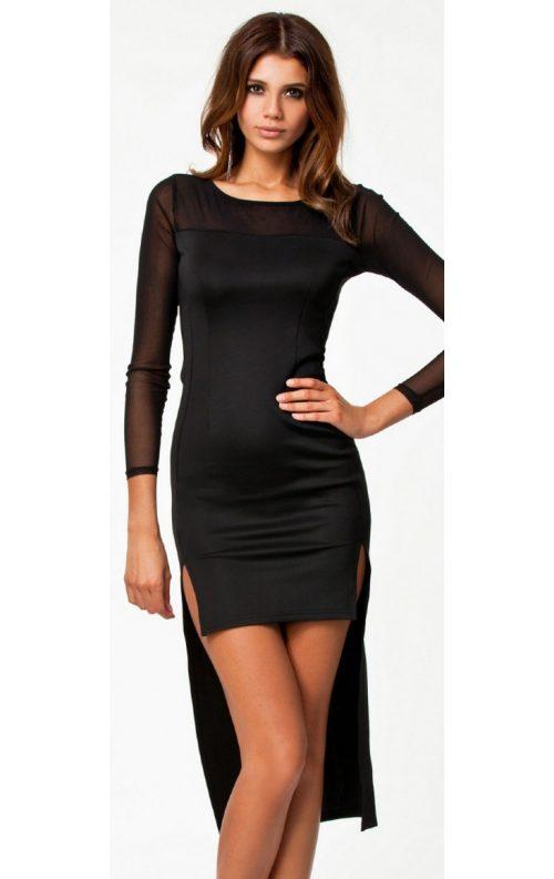 Arkası Uzun Önü Kısa Seksi Mini Elbise