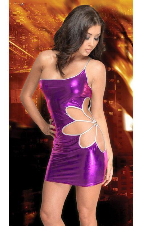 Yaprak Desenli Deri Mini Elbise