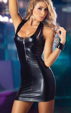 Suni Deri Fermuarlı Mini Elbise