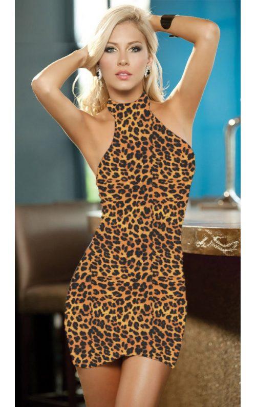 Leopar Baskılı Mini Elbise