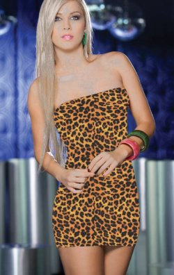 Leopar Baskılı Straplez Mini Elbise