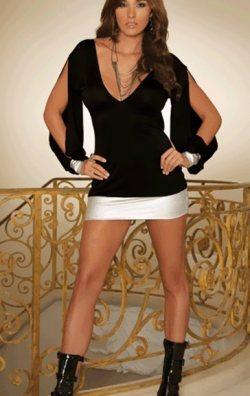 Açık Kollu Mini Elbise