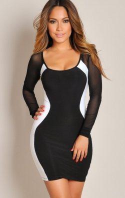 Kolları Transparan Mini Elbise