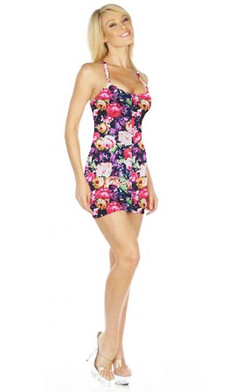 Çiçek Desenli Sırt Dekolteli Askılı Elbise