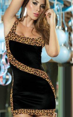 Askılı Leopar Desenli Elbise