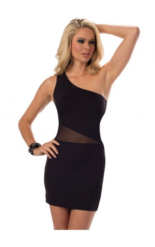 Göbek Dekolteli Siyah Mini Elbise