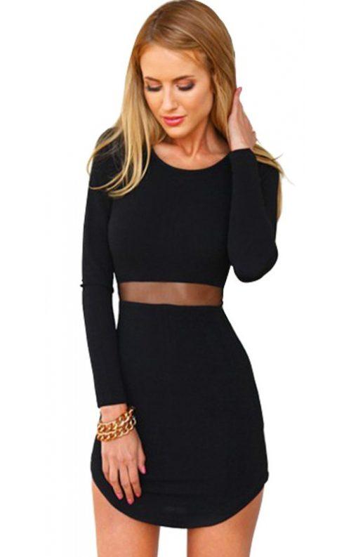 Transparan Göbek Dekolteli Mini Elbise