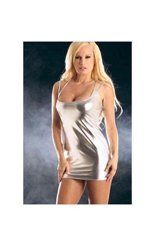 e37d383e6e01d Parlak Suni Deri Seksi Mini Elbise