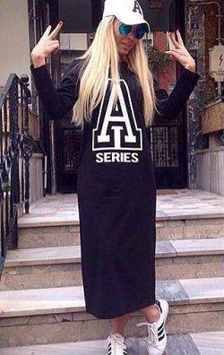 Seri A Baskılı Uzun Elbise