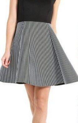 Çizgili Kloş Etekli Elbise