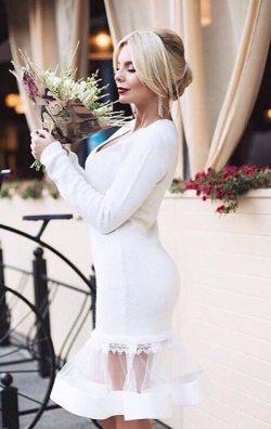 Tüllü Beyaz Elbise