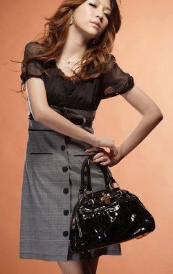 Ekoseli Japon Style Elbise