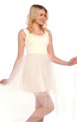 Kabarık Etekli Beyaz Elbise