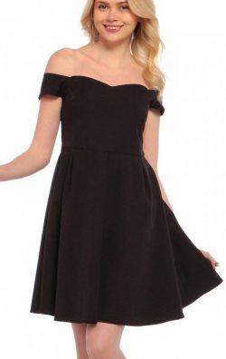 Omuz Dekolteli Siyah Elbise