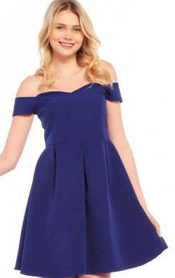 Omuz Dekolteli Mavi Elbise