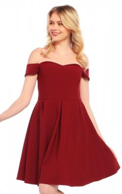 Omuz Dekolteli Bordo Elbise