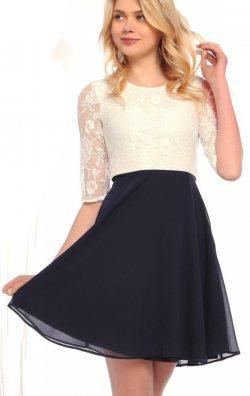 Lacivert Beyaz Dantelli Elbise