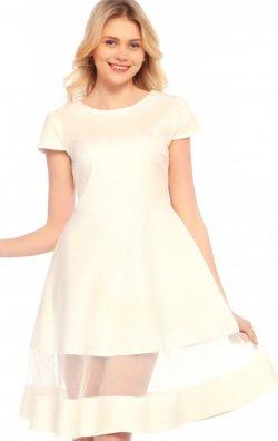 Kloş Etekli Beyaz Elbise