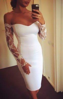 Kolları Dantelli Beyaz Elbise