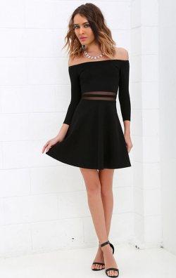 Straplez Kloş Model Siyah Mini Elbise