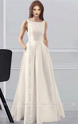 Beyaz Uzun Cepli Elegant Abiye Elbise