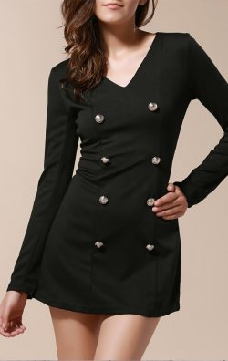 Uzun Kollu Tarz Mini Elbise