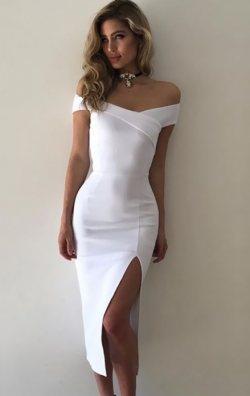 Kapalı Omuz Yüksel Bel Bodycon Elbise