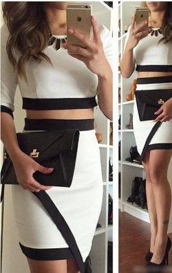 Siyah Beyaz İki Parça Elbise