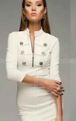 Düğme Detaylı Fakir Kol Elbise