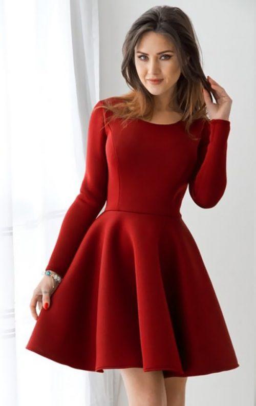Uzun Kol Tarz Kloş Elbise