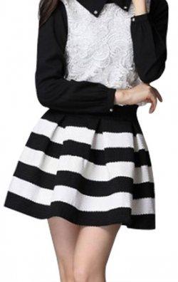 Şerit Desenli Siyah Beyaz Mini Etek