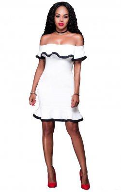 Madonna yaka volanlı mini elbise