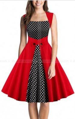 Puantiye Detay Kabarık Elbise
