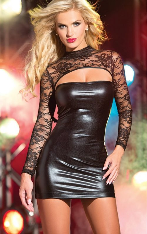 Siyah lame deri detaylı mini dantel elbise