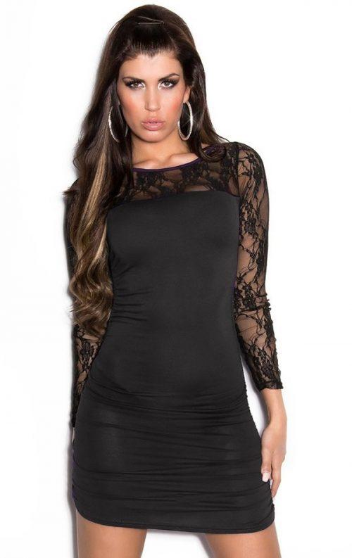 Siyah Dantelli Club Model Mini Elbise